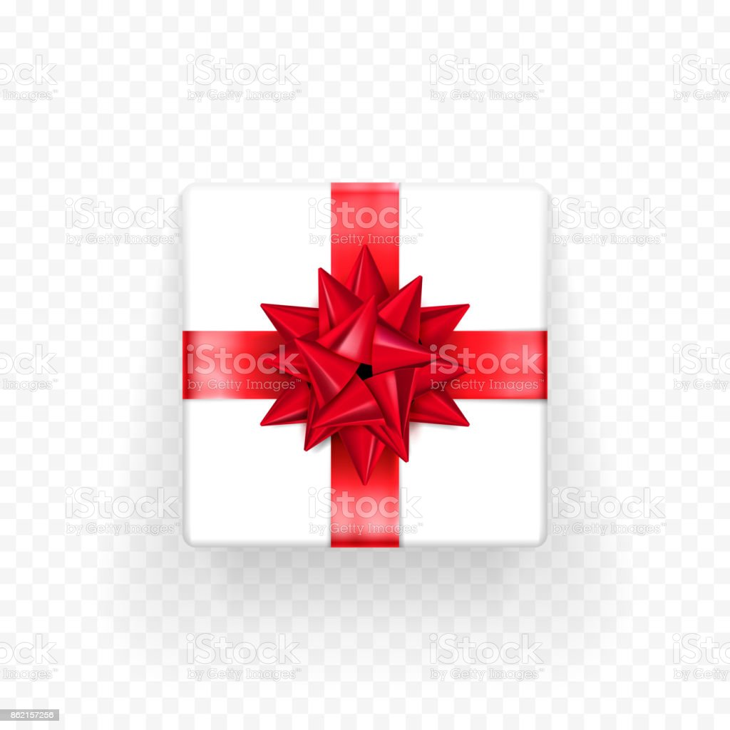 Christmas Gift Box Template.Gift Box Red Bow Ribbon Vector Template Birthday New Year
