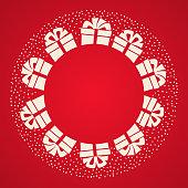Gift box, ribbon bow, falling snow, Christmas card