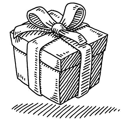 Gift Box Ribbon Drawing