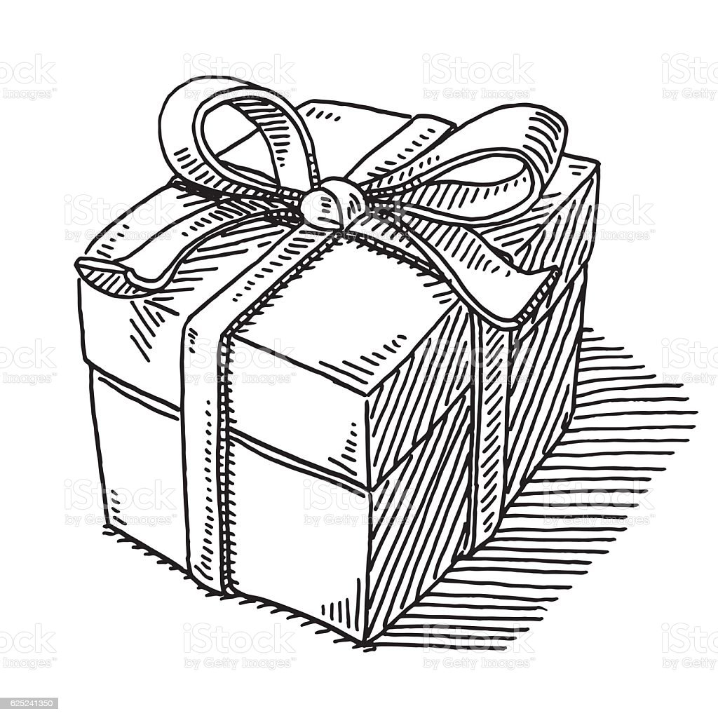 Royalty Free Birthday Present Christmas Present Doodle Box Clip Art