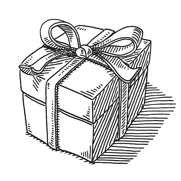 Gift Box Ribbon Drawing Hand-drawn vector drawing of a Gift Box with a Ribbon. Black-and-White sketch on a transparent background (.eps-file). Included files are EPS (v10) and Hi-Res JPG. celebration stock illustrations