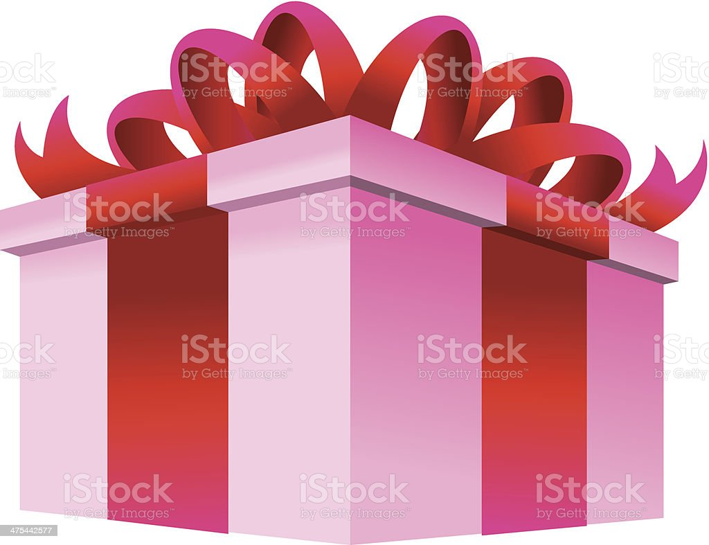 Gift Box Ribbon vector art illustration