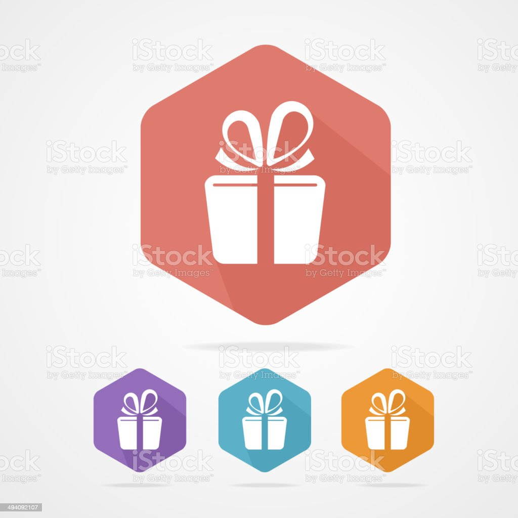 Gift box sign vector icon. Present vector art illustration