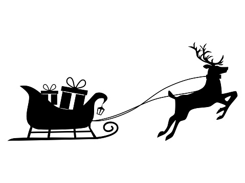 8 Gift box silhouette on a reindeer sleigh. Isolated on white background. Vector illustration eps