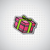 Gift Box Sticker Christmas And New Year Present Badge