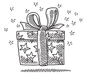 Hand-drawn vector drawing of a Gift Box Surprise. Black-and-White sketch on a transparent background (.eps-file). Included files are EPS (v10) and Hi-Res JPG.