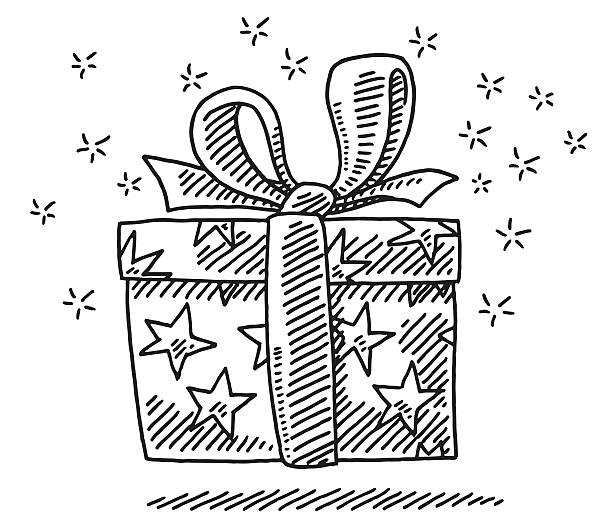 Gift Box Surprise Drawing Hand-drawn vector drawing of a Gift Box Surprise. Black-and-White sketch on a transparent background (.eps-file). Included files are EPS (v10) and Hi-Res JPG. celebration stock illustrations
