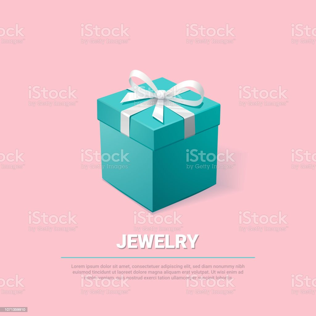 Gift Box Turquoise Jewelry Box On Pink Background Template For