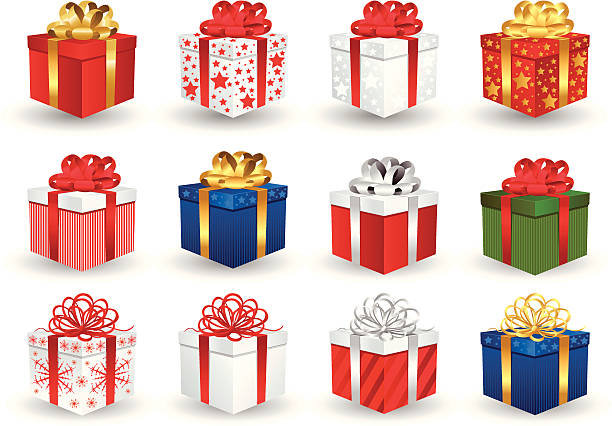 gift box - weihnachtsgeschenk stock-grafiken, -clipart, -cartoons und -symbole