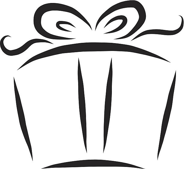 Royalty Free Black And White Gift Boxes Clip Art Vector Images