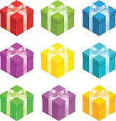 Nine different coloured gift boxes