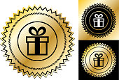 Gift Box.This image features the main icon on a round sticker design. The image is a  vector illustration. The colors are black, white and golden gradient. It's placed against a white background. There are two more alternative designs of the seal on the right of the image. This royalty free vector illustration is easy to modify.
