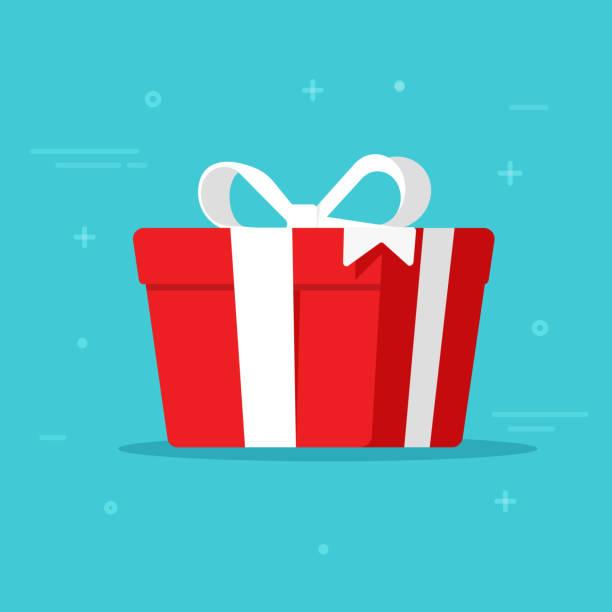 geschenk-box-vektor-illustration isoliert in flachen cartoon-design, vorliegenden papierpaket mit weißen band - weihnachtsgeschenk stock-grafiken, -clipart, -cartoons und -symbole