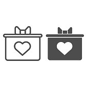 Gift box with a bow and heart line and solid icon. Giftbox With A Heart symbol illustration isolated on white. Valentine Day gift box outline style design, designed for web and app. Eps 10.