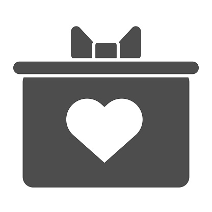 Gift box with a bow and heart solid icon. Giftbox With A Heart symbol illustration isolated on white. Valentine Day gift box glyph style design, designed for web and app. Eps 10.