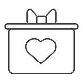 Gift box with a bow and heart thin line icon. Giftbox With A Heart symbol illustration isolated on white. Valentine Day gift box outline style design, designed for web and app. Eps 10