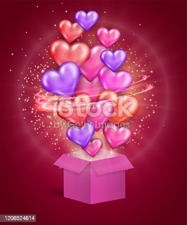 Gift box with a swarm of 3d hearts streaming up on red romantic background. Swirling shining vortex of magical dust and beautiful explosion. Valentine's day greeting card, invitation, sale advertising