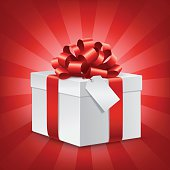 Vector illustration of a white gift box with red bow and blank tag