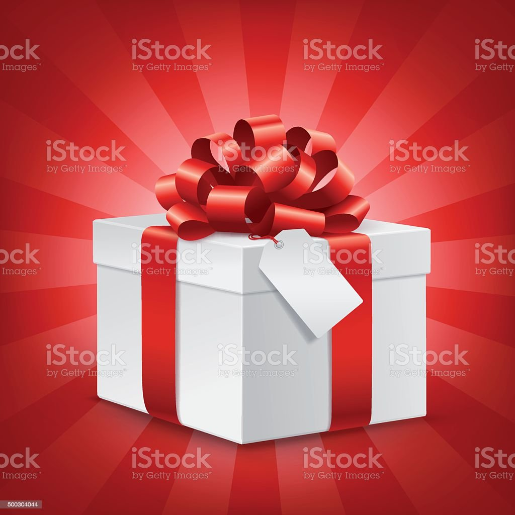 Gift box with blank Tag and Red Bow vector art illustration