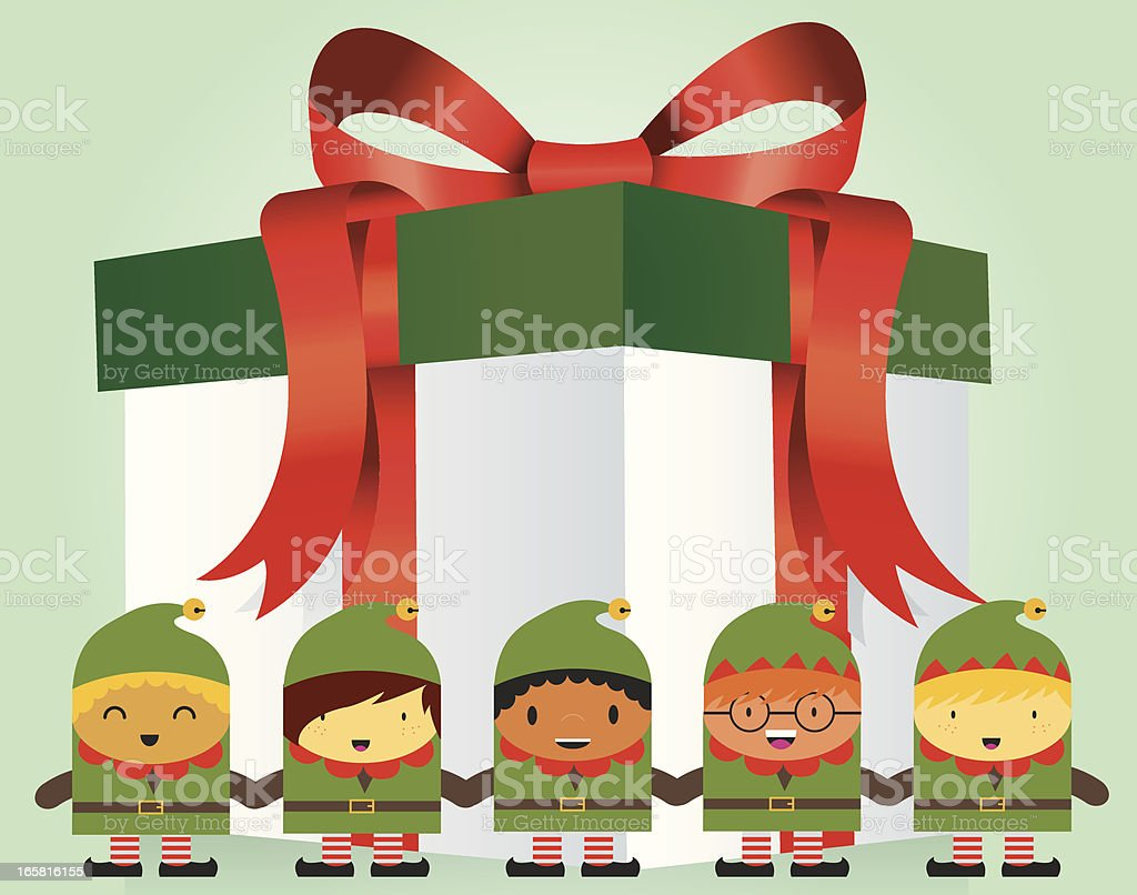 Gift Box with Elf royalty-free gift box with elf stock vector art & more images of anniversary
