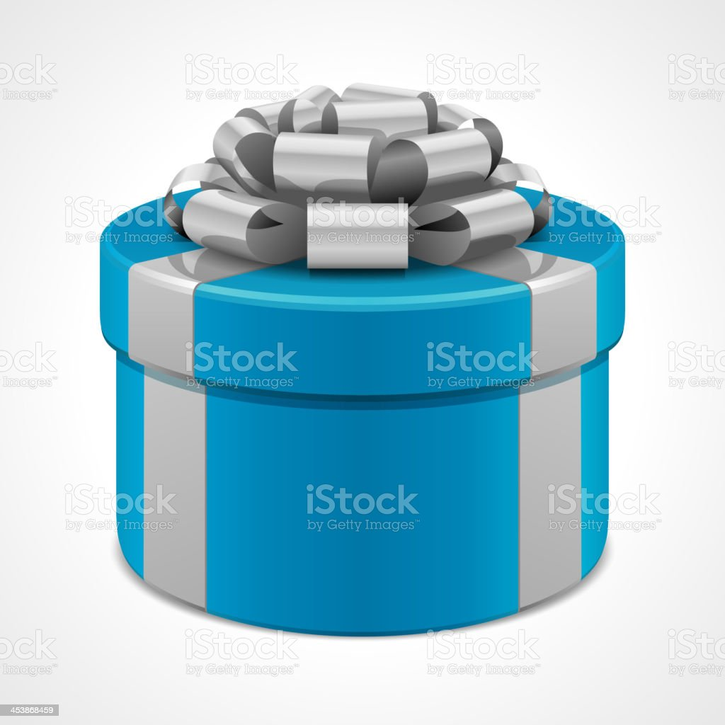 Gift box with gray bow isolated on white. Vector illustration eps 10.