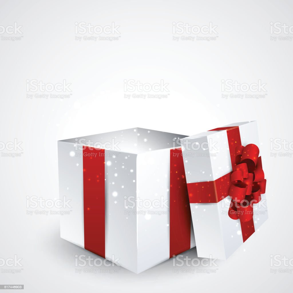 Gift box with red bow. vector art illustration