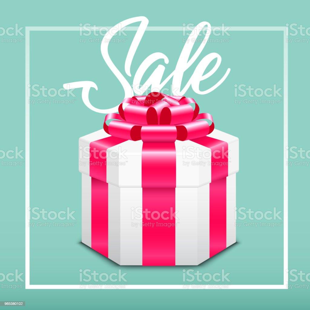 Boîte de cadeau avec arc rouge. - clipart vectoriel de Anniversaire libre de droits