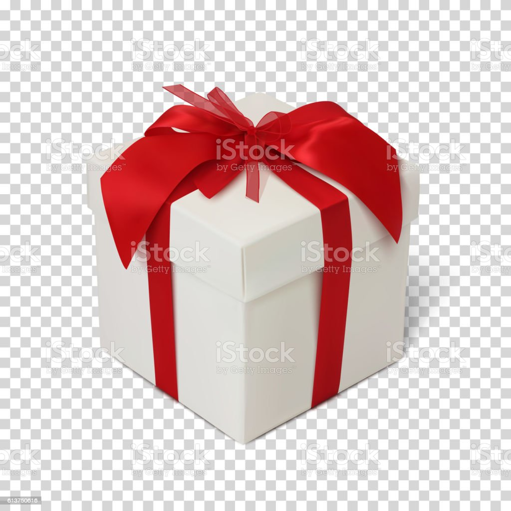 Gift box with red ribbon and bow. vector art illustration