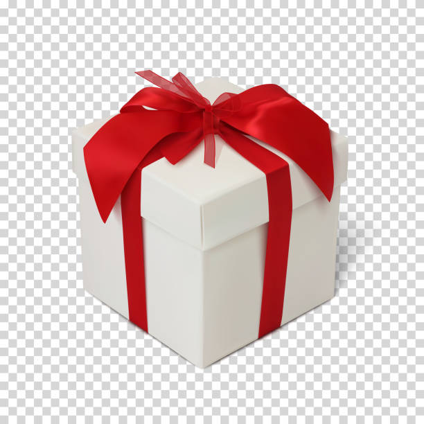 Gift box with red ribbon and bow. Gift box with red ribbon and bow isolated on transparent background. Vector illustration. gifts stock illustrations