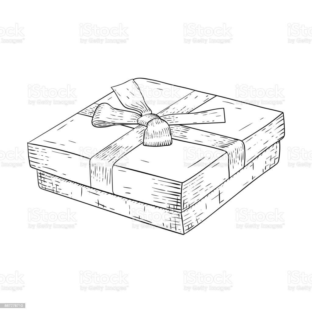 Gift Box With Ribbon Bow Jewelry Box Hand Drawn Sketch Stock Vector