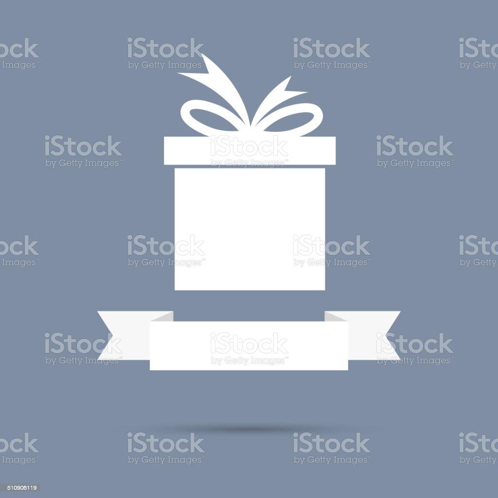 Gift box with ribbon. flat design. vector art illustration