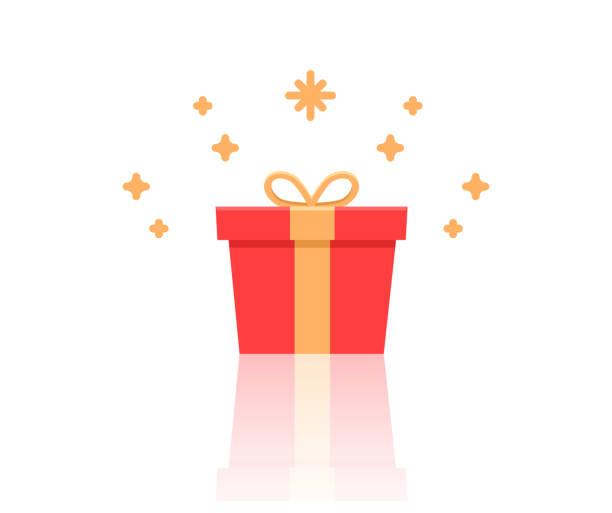 stockillustraties, clipart, cartoons en iconen met de doos van de gift met sparkles. platte pictogram vectorillustratie voor verjaardag, kerstmis, promoties, wedstrijden, marketing, enz - birthday gift voucher
