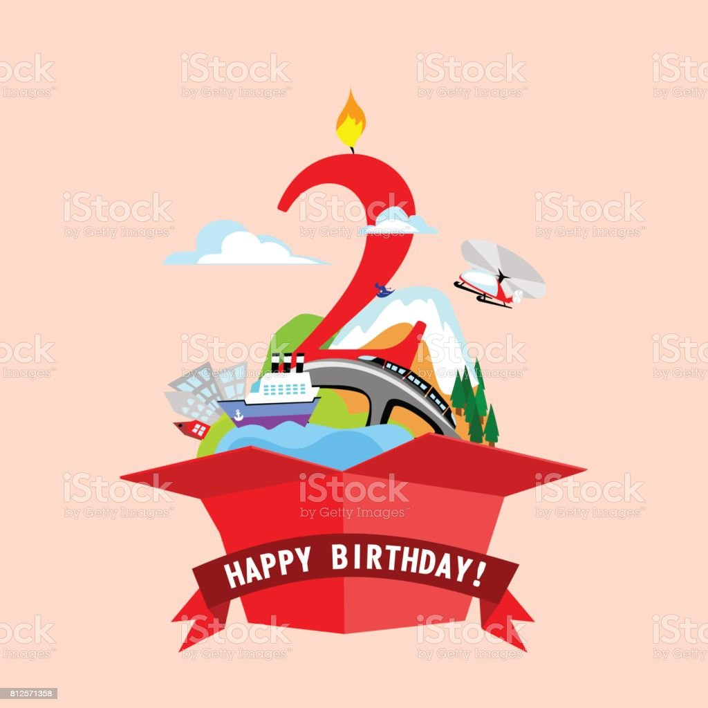 gift box with words happy birthday the number 2 of red color on the