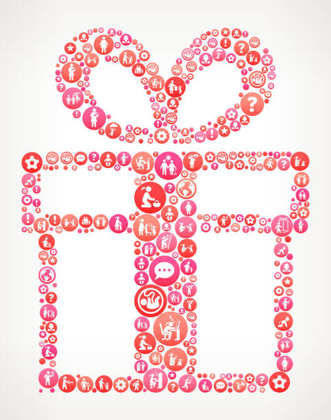 geschenk box frauen girl power icons vektor hintergrund - laufführer stock-grafiken, -clipart, -cartoons und -symbole