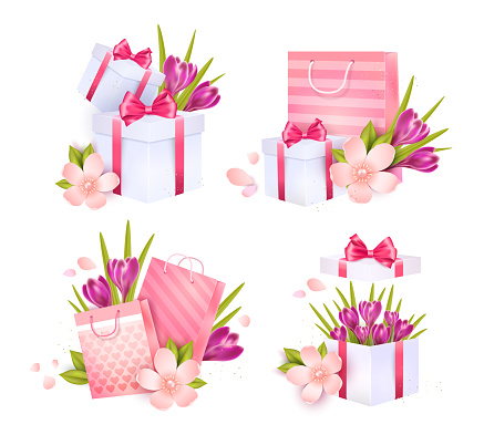 Gift boxes and bags. Isolated elements
