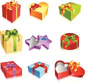Gift boxes, bows and ribbons