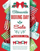 Holiday sale ad with Christmas gifts and a banner down the center for text. Great for holiday sales, Boxing day sales or greeting cards.