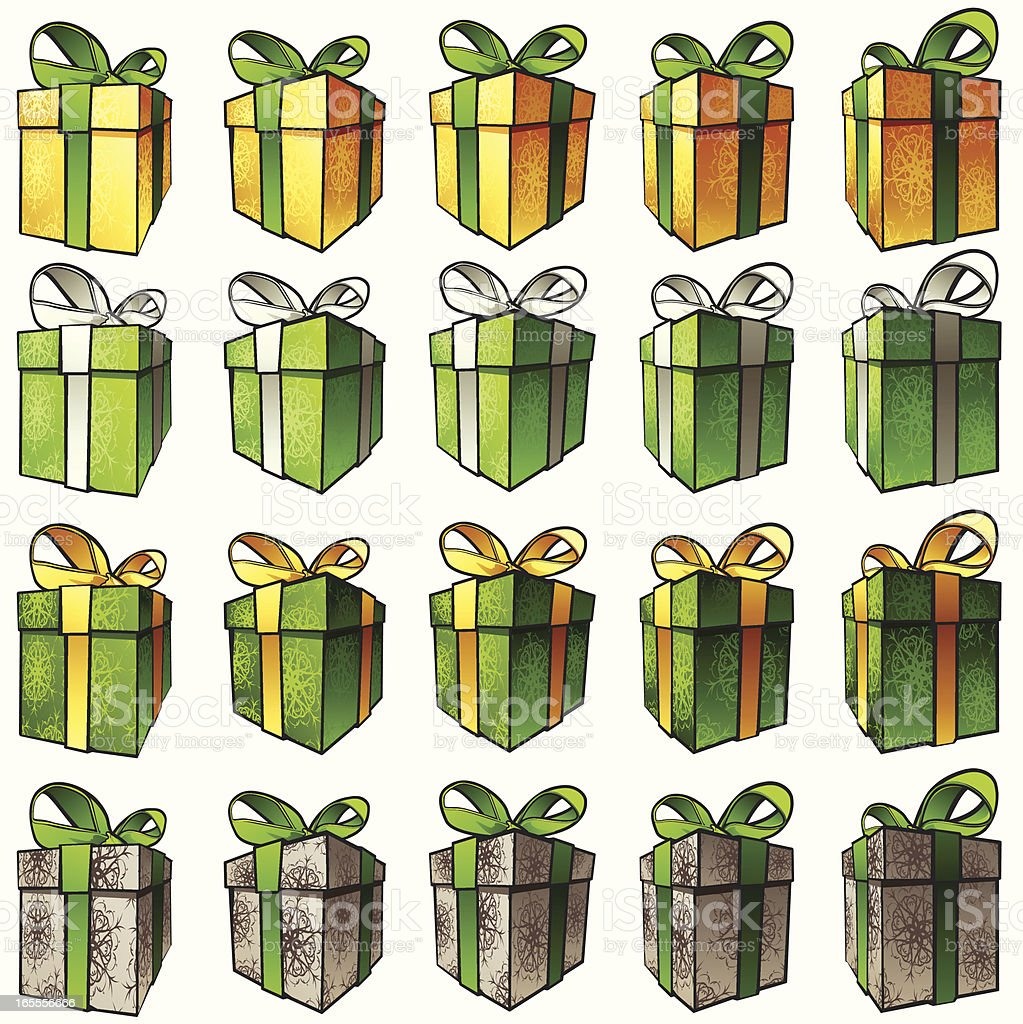 Gift Boxes - Gold and Green royalty-free stock vector art