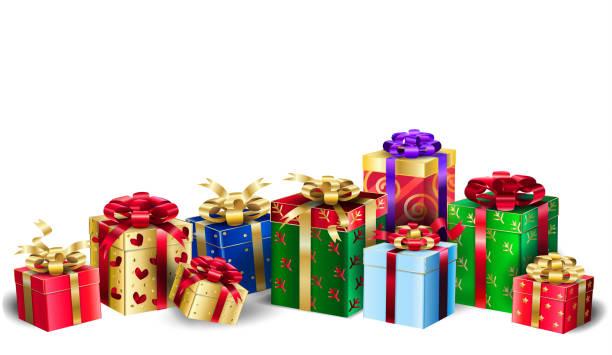 stockillustraties, clipart, cartoons en iconen met geschenkdozen groep kerstmis of verjaardag presenteert feestelijke behang - christmas presents