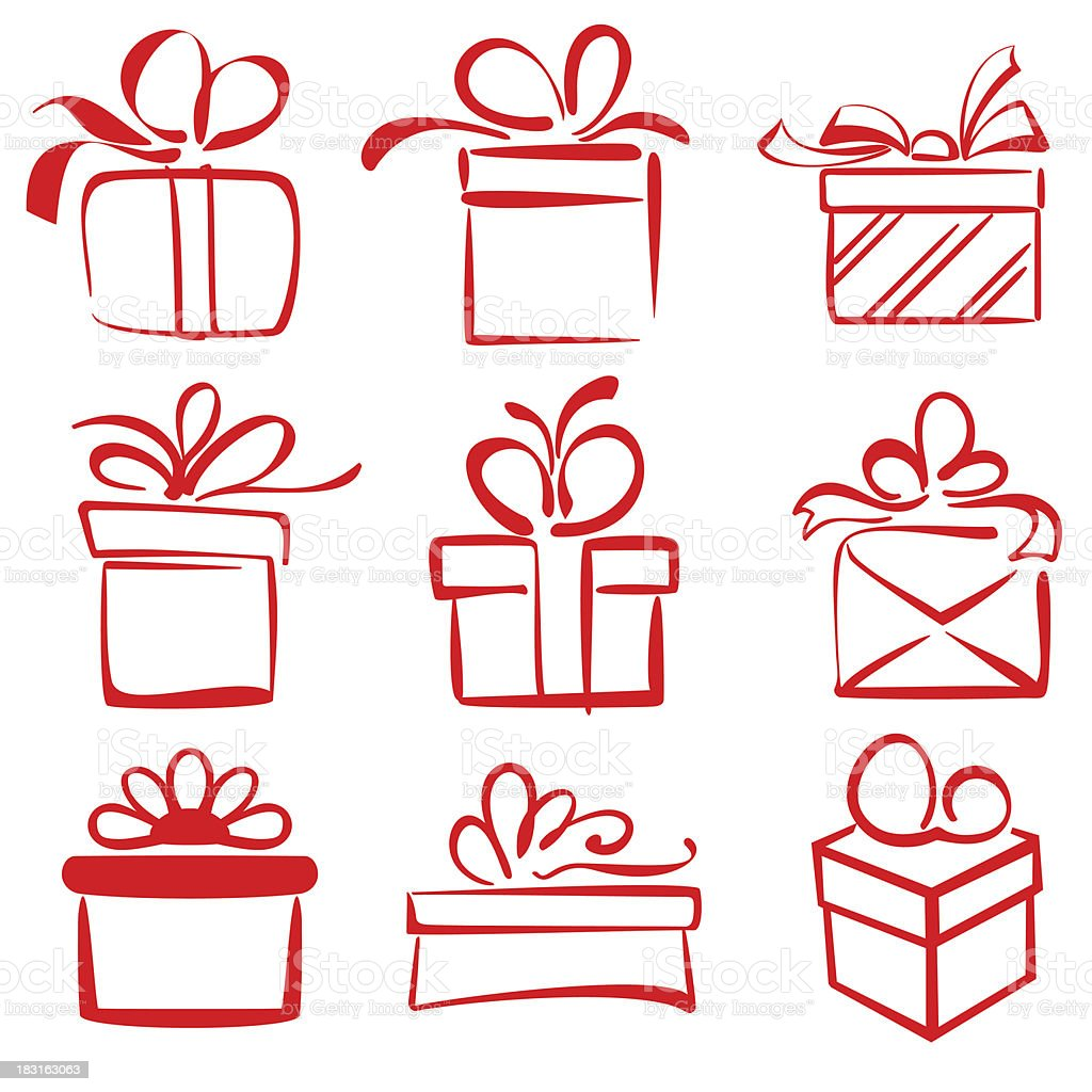 gift boxes icon set sketch vector illustration royalty-free stock vector art