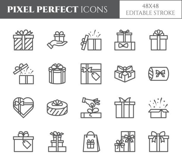 pola upominkowe ikony ustawione z edytowalnym obrysem - czarny kontur przezroczyste elementy zawinięte i zdobione prezenty. - gift stock illustrations