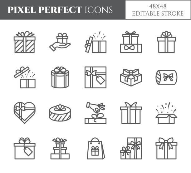 gift boxes icons set with editable stroke - black outline transparent elements of wrapped and decorated presents. - surprise stock illustrations