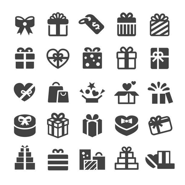 ikony pudełek prezentowych - smart series - gift stock illustrations