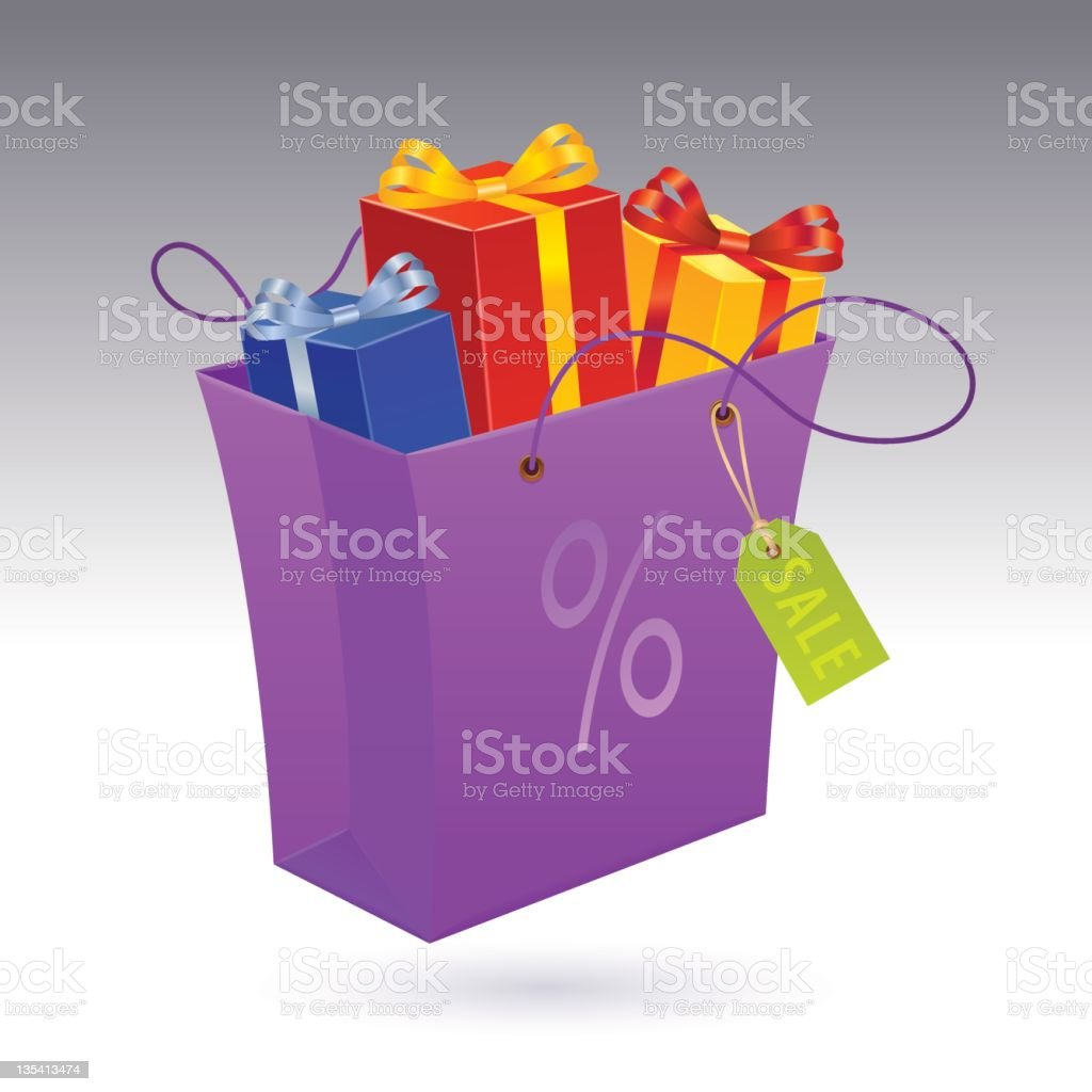 Gift Boxes in Shopping Bag with tag royalty-free stock vector art