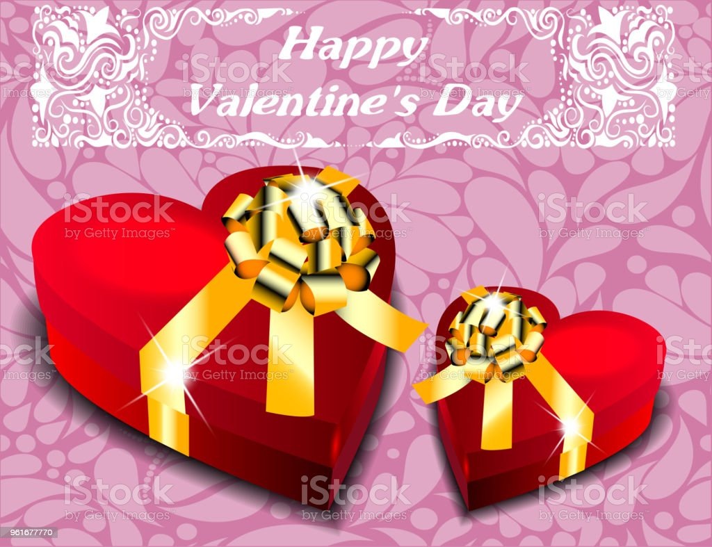 Gift boxes in the form of heart with gold bows. Valentine's Day. vector art illustration