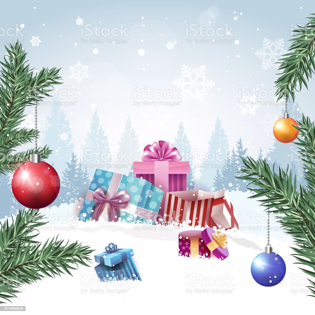 Gift Boxes In Winter Forest Merry Christmas Background Design ...