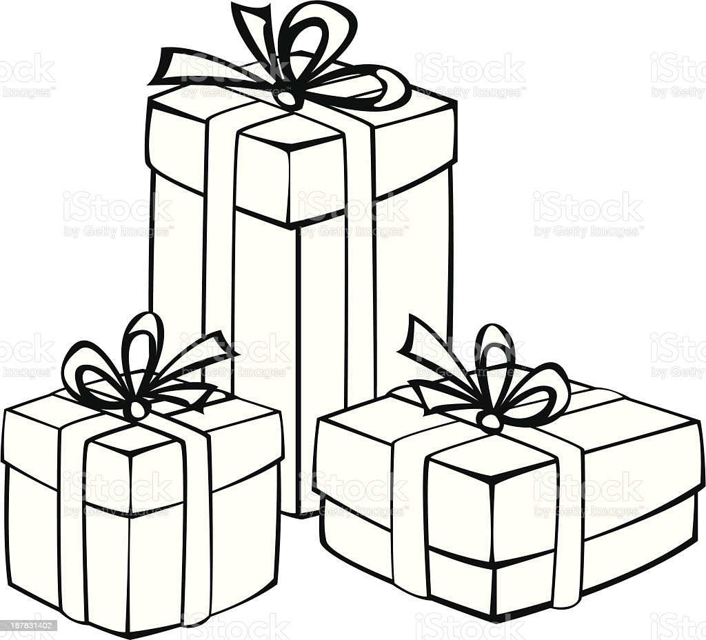 Royalty Free Gift Box On White No People Clip Art Vector Images Rh Istockphoto Com Present Clipart Black And Christmas