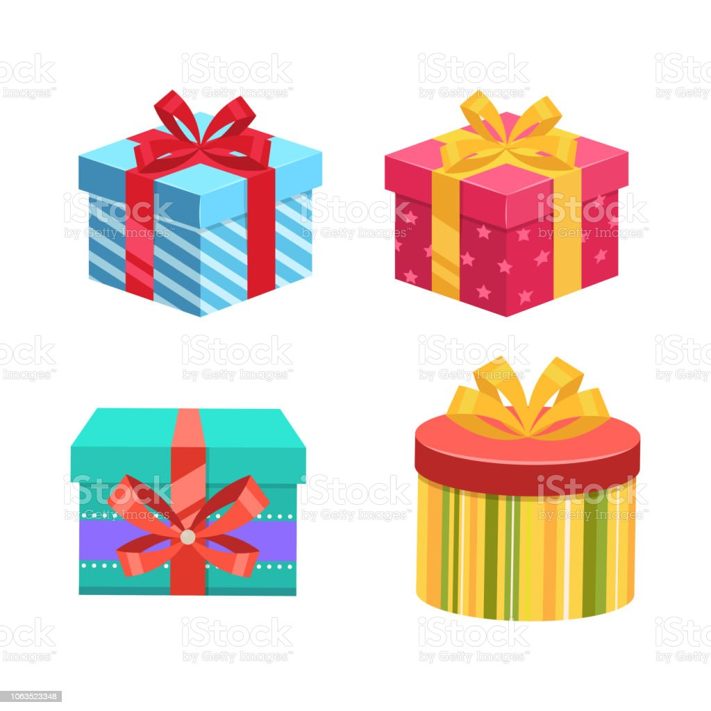 Gift Boxes Presents Vector Colorful Wrapped Collection For Birthday
