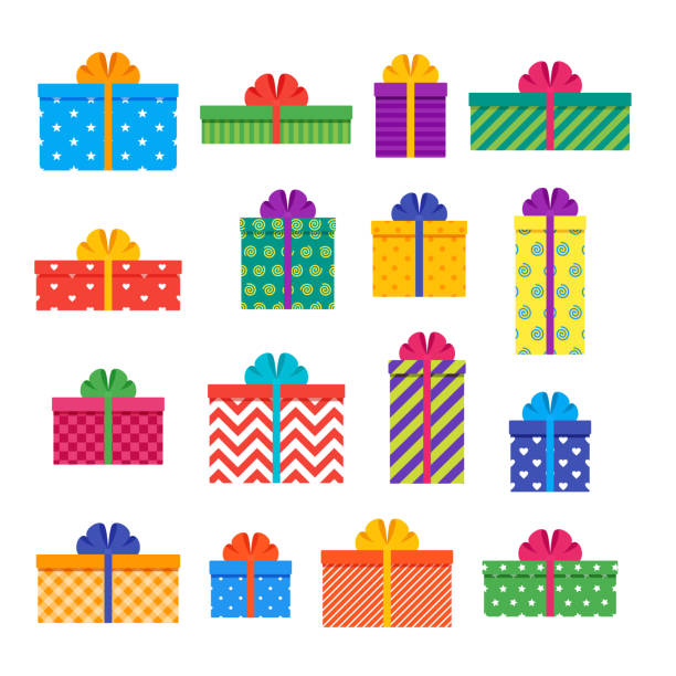 gift boxes. set of colorful presents. vector illustration. - prezent na urodziny stock illustrations