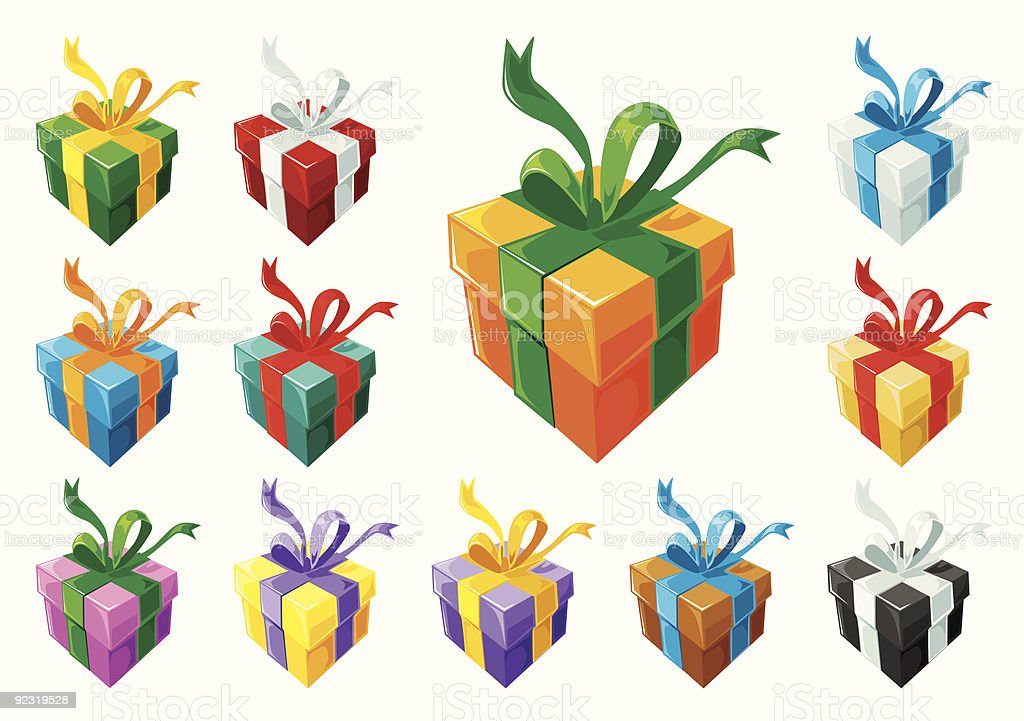 Gift boxes set - uniform box colors royalty-free stock vector art